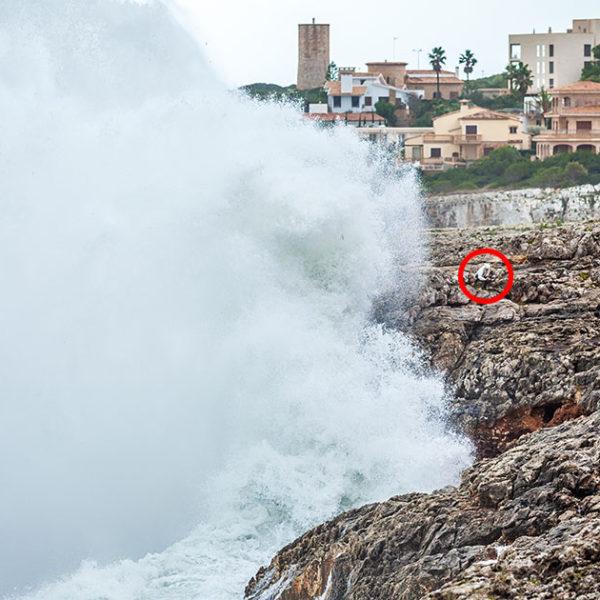Se salva por los pelos de ser arrastrada por el mar en Porto Cristo